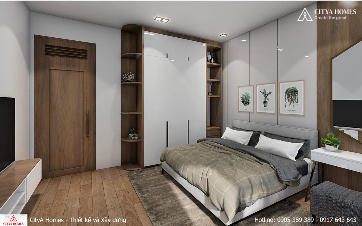 Phòng ngủ với thiết kế đặc trưng từ chất liệu gỗ