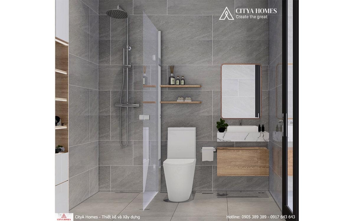 Phòng tắm đẹp với tone màu xám làm chủ đạo