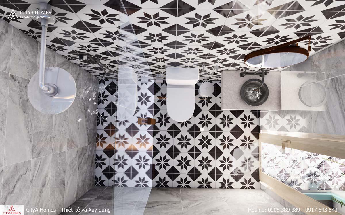 Phòng tắm được ốp đá họa tiết mang lại cảm giác mới lạ