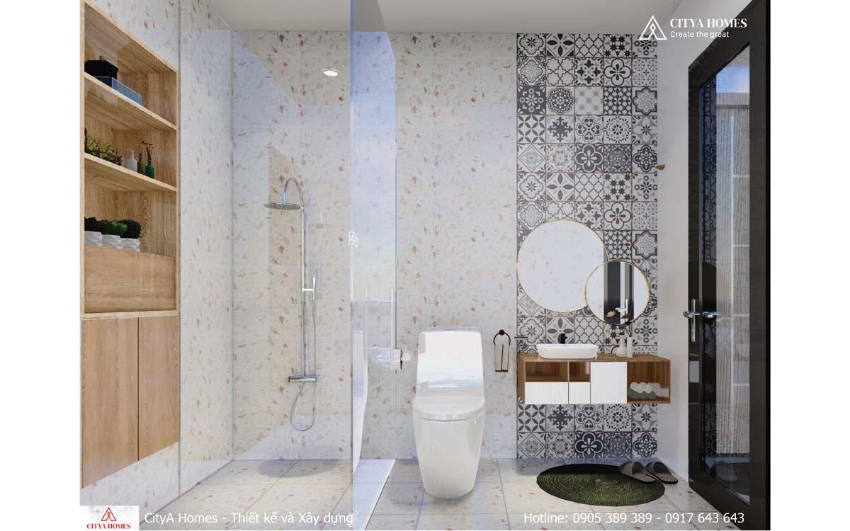 Phòng tắm được ốp đá sạch sẽ