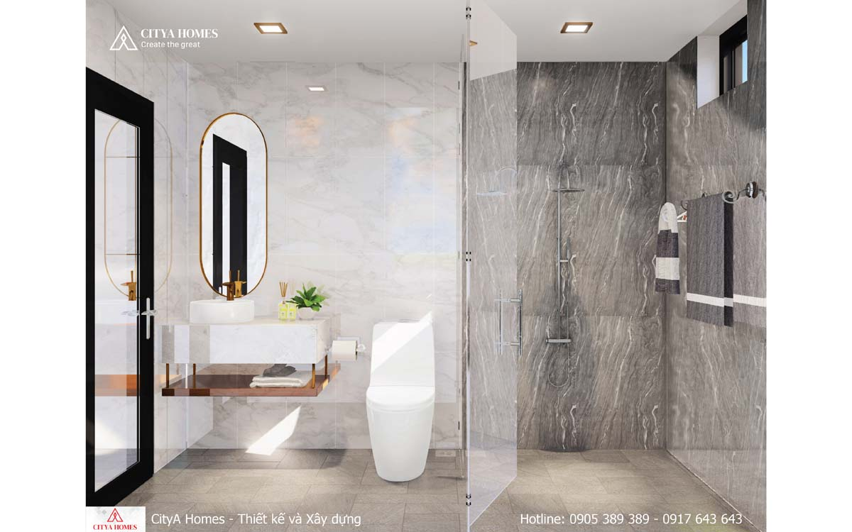 Phòng tắm được ốp đá toàn bộ tránh bị ẩm