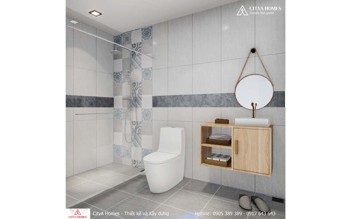 Phòng tắm được thiết kế nội thất đơn giản nhưng tạo điểm nhấn rõ ràng