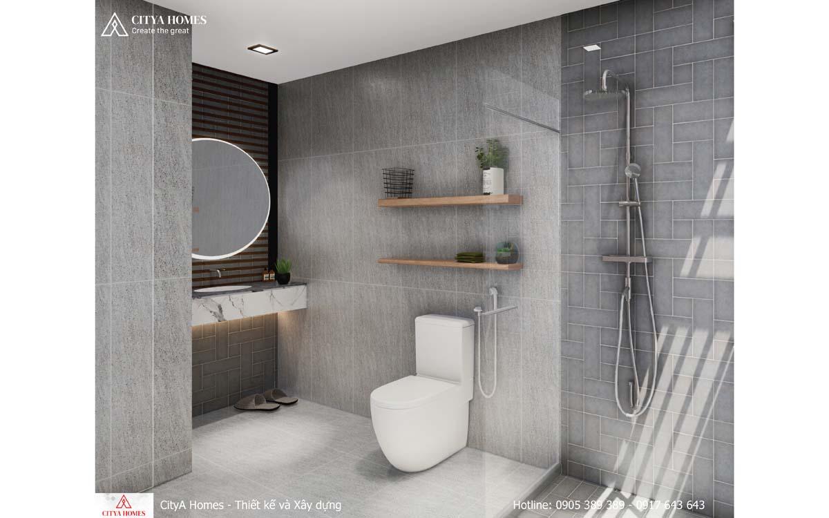 Phòng tắm hiện đại có đầy đủ vật chất
