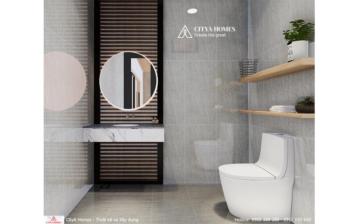 Phòng tắm hiện đại, tối giản với nội thất tiện dụng