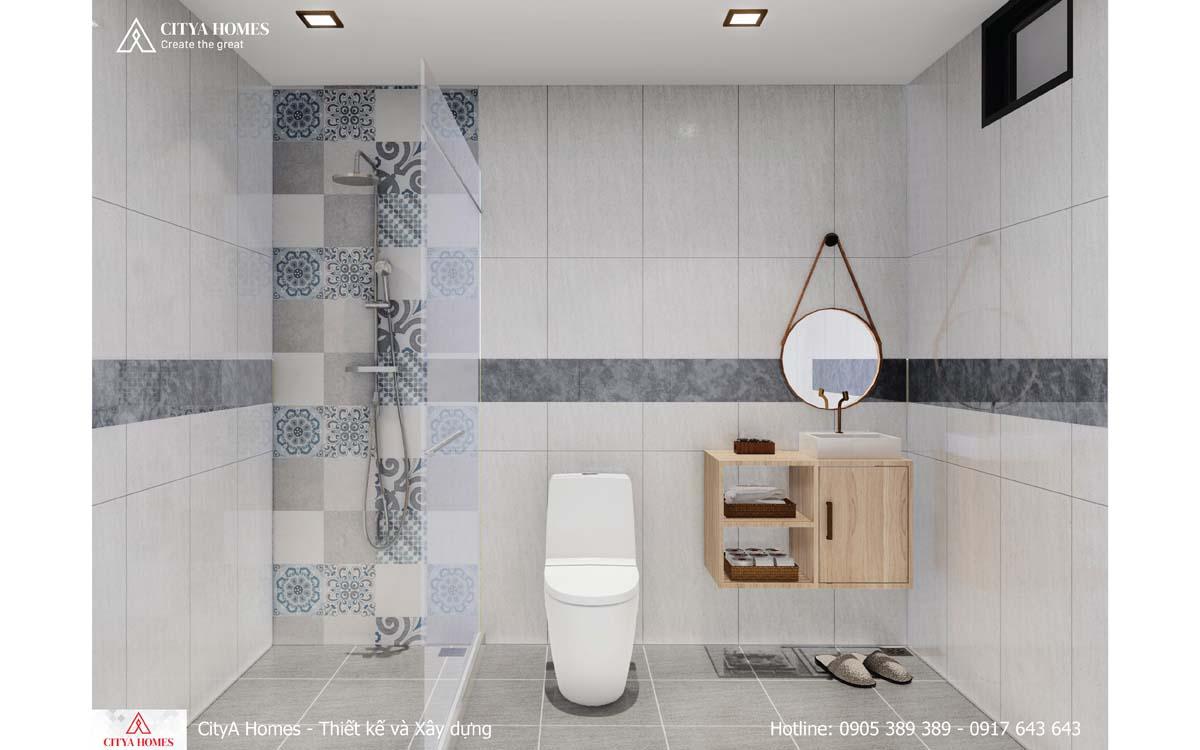 Phòng tắm nổi bật với hoa văn trên đá trang trí