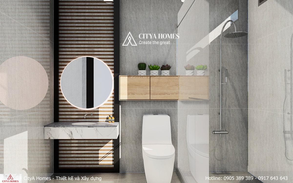 Phòng tắm rộng với tone màu xám trắng