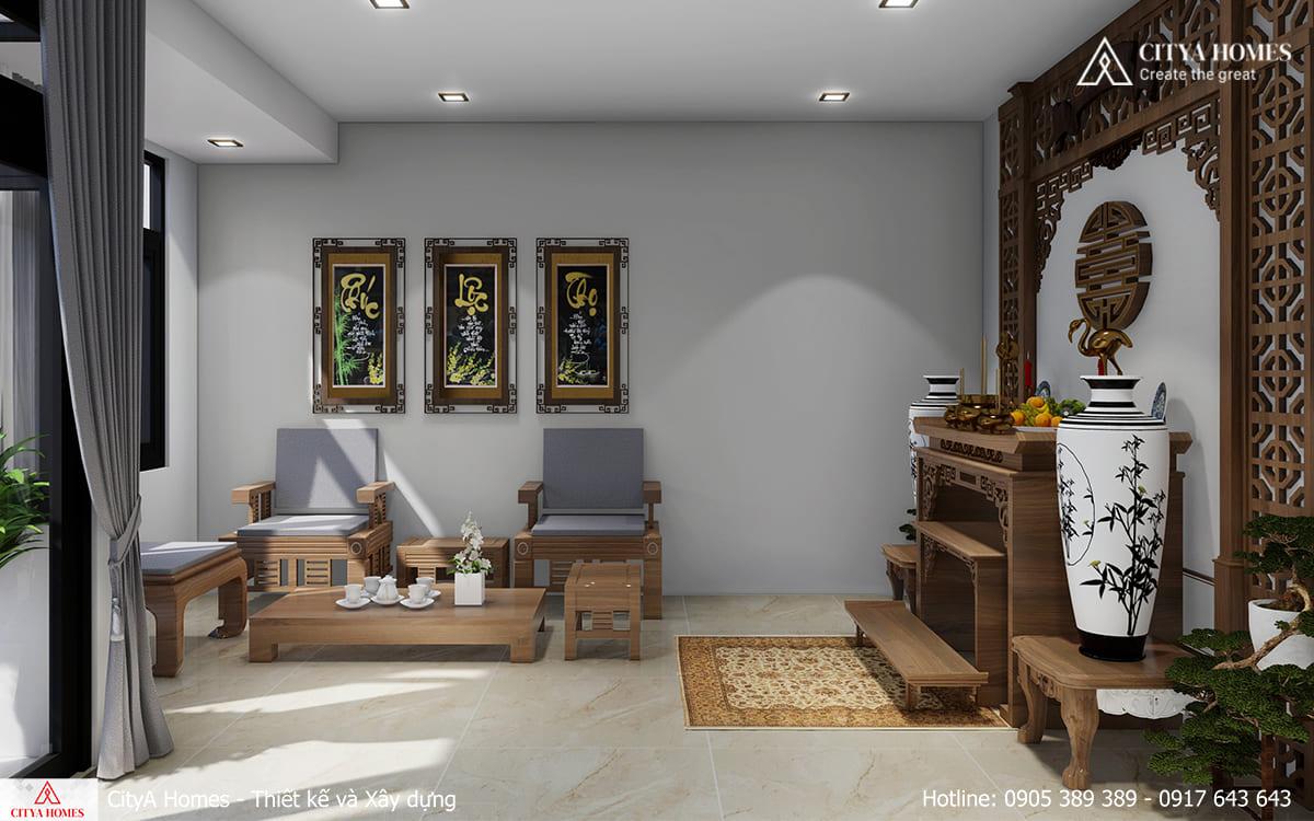 Phòng thờ với thiết kế đậm nét truyền thống