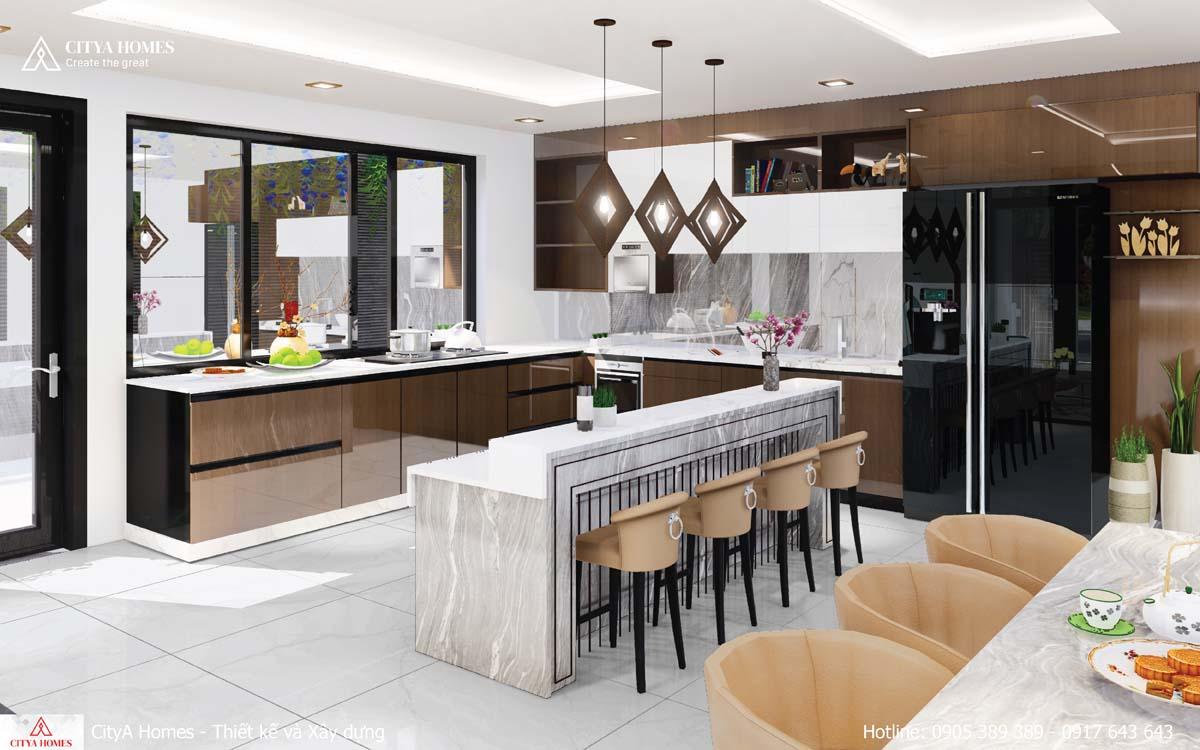 Quầy bar được bố trí ở giữa phòng bếp