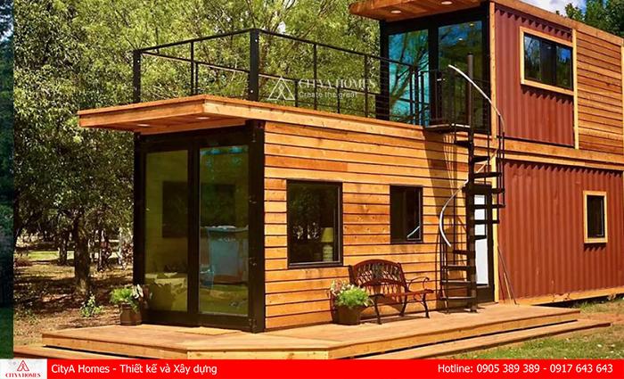 Thiết kế container hai tầng họa tiết giả thanh gỗ ấn tượng