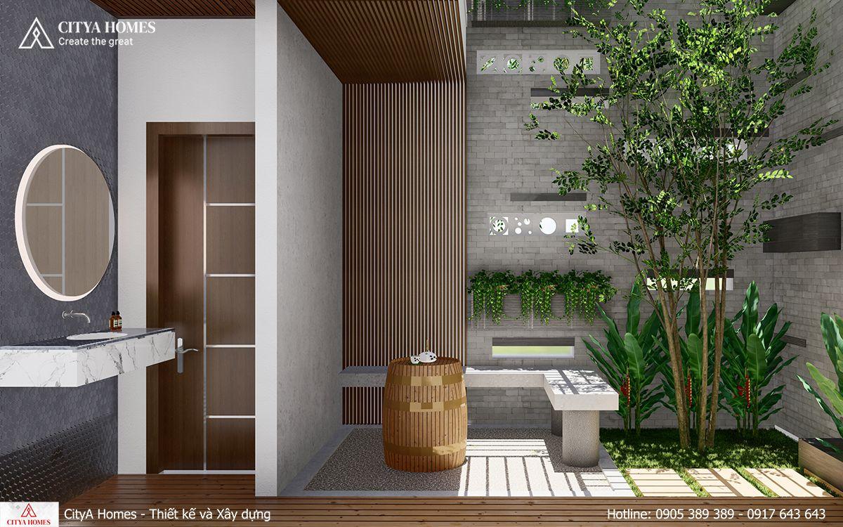 Thiết kế nhà vệ sinh kết hợp không gian xanh