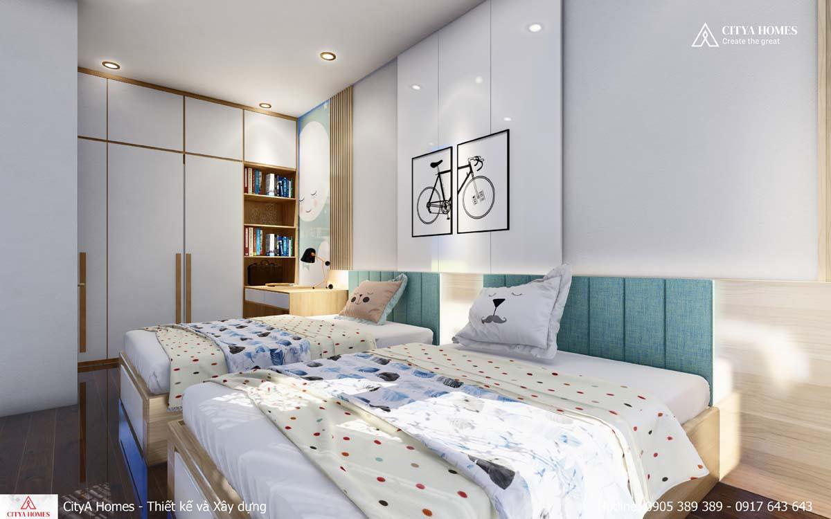 Thiết kế nội thất giường đôi trong phòng ngủ