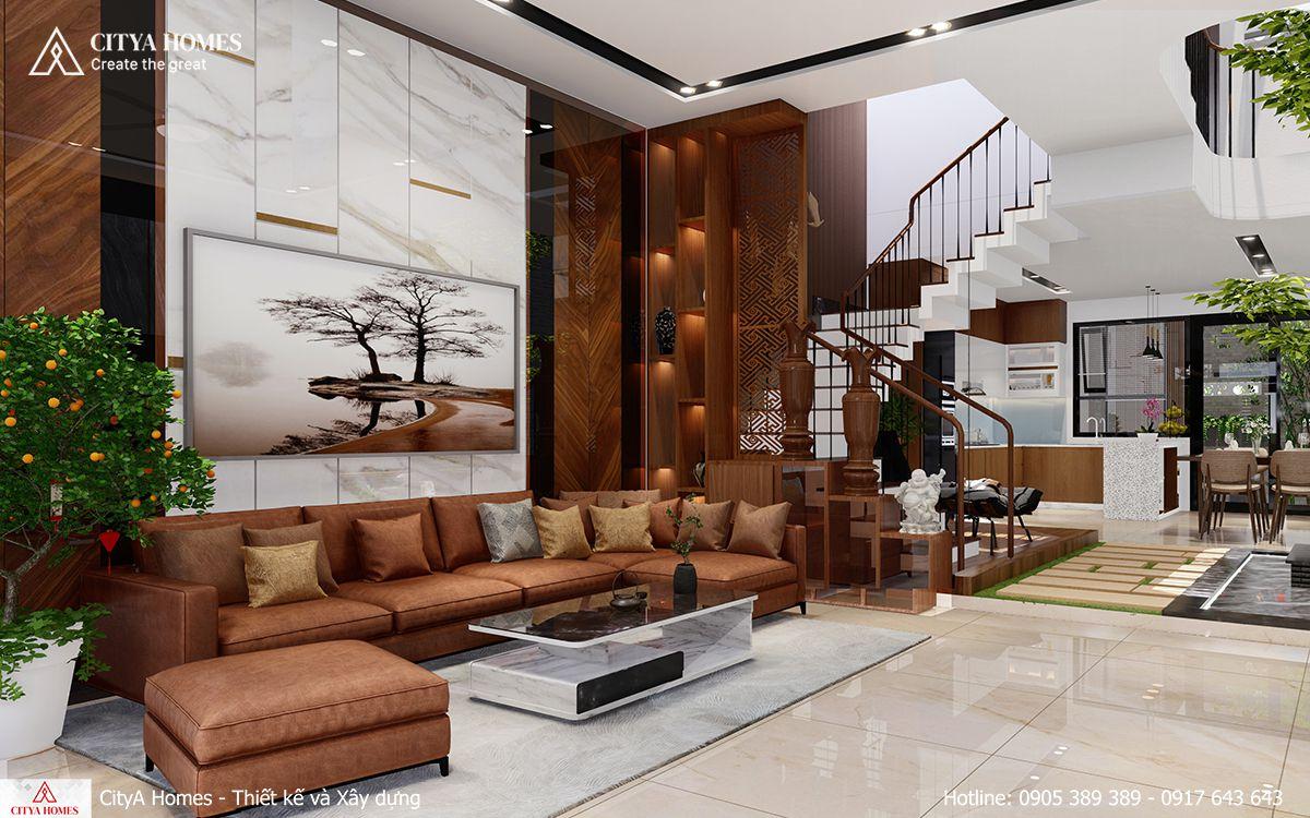 Thiết kế nội thất phòng khách chất liệu gỗ đem lại sự sang trọng