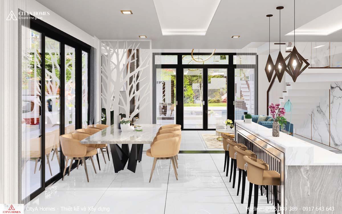 Thiết kế phòng bếp có quầy bar tiện lợi