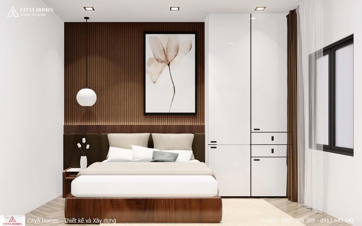 Thiết kế phòng ngủ với gam màu trắng sáng