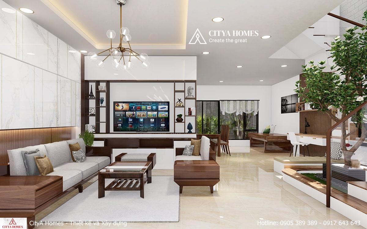 Toàn bộ không gian phòng khách được kết nối với nhau một cách thống nhất