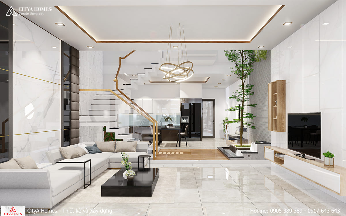 Tổng thể bố cục căn nhà rộng rãi và thoáng mát, phù hợp với gia chủ yêu thiên nhiên