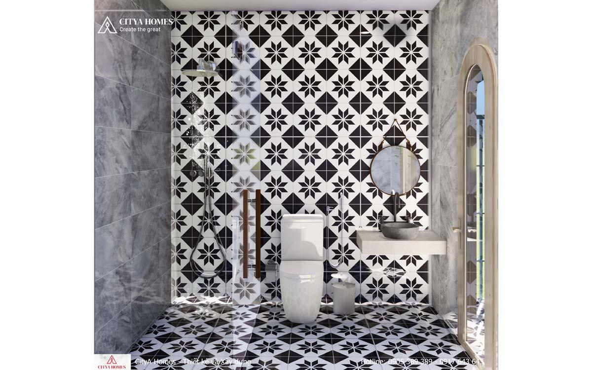 Trang trí phòng tắm bằng gạch ốp hoa văn