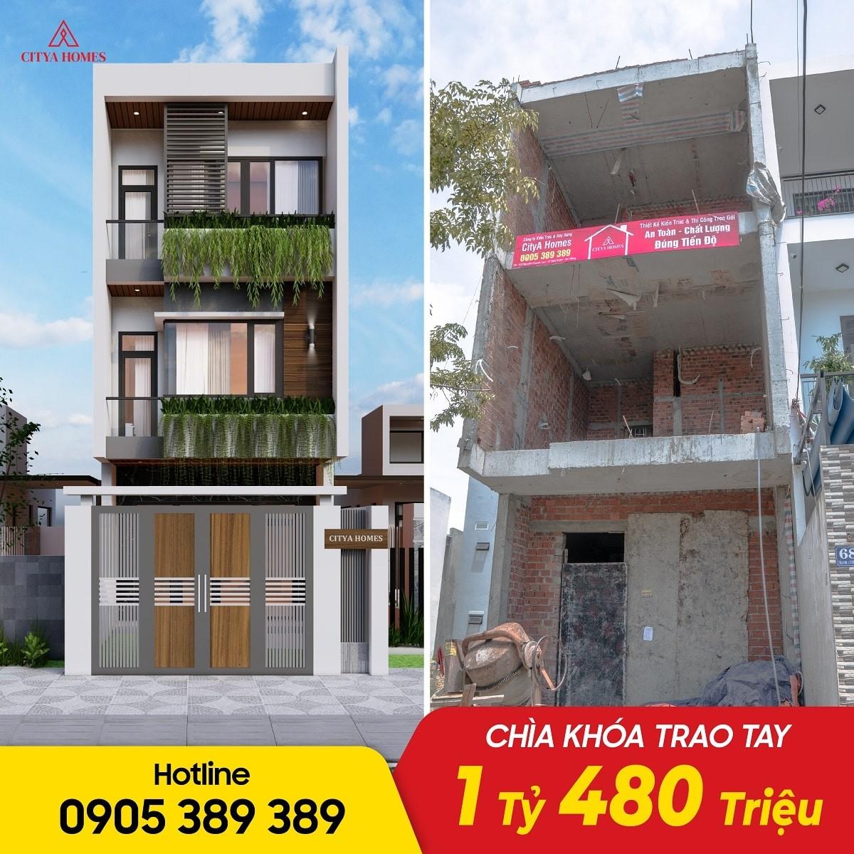 Hình ảnh Thực Tế Nhà Phố 3 Tầng Tone Trắng Đen ở Đà Nẵng