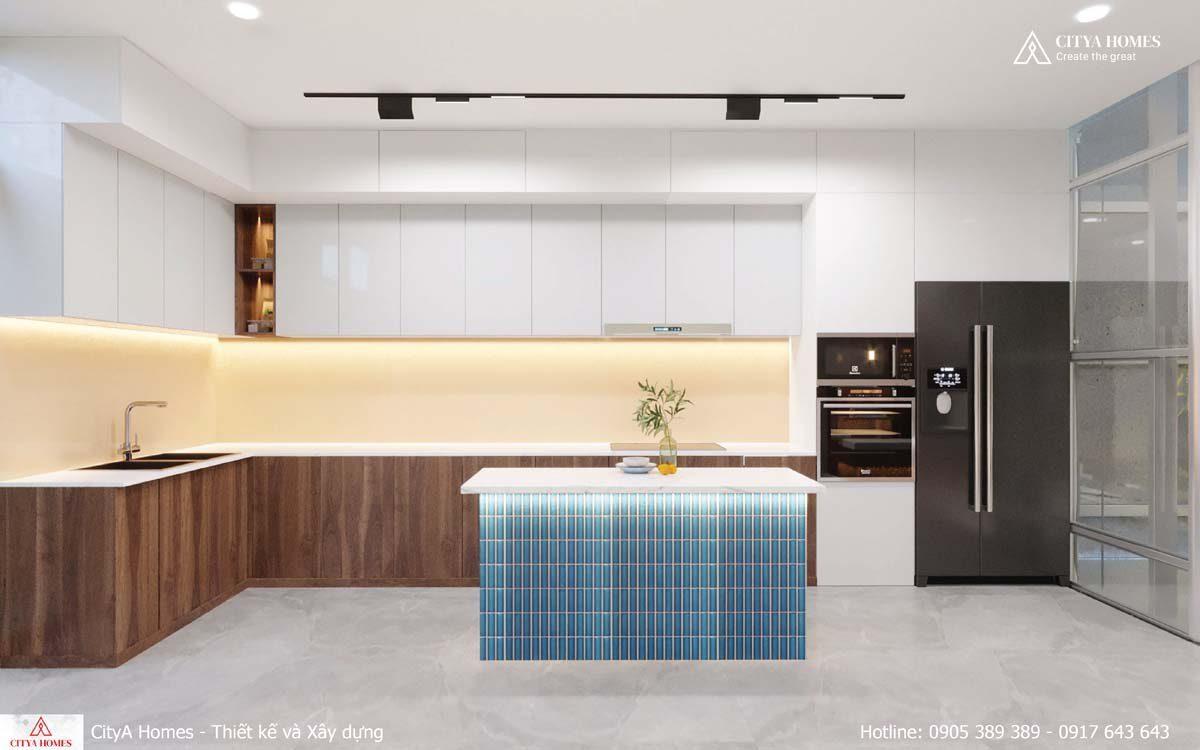 Phòng Bếp Giản đơn Kết Hợp Tủ đựng đồ Trong Bếp Gọn Gàng, Ngăn Nắp