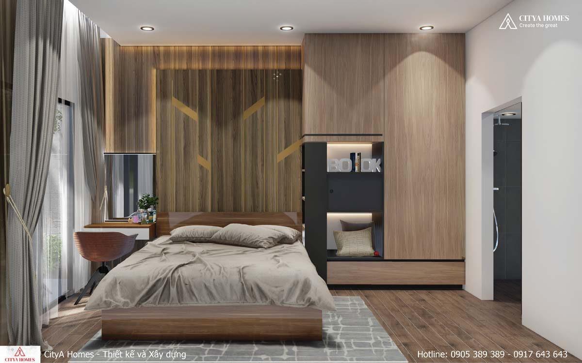 Phòng Ngủ được Thiết Kế đơn Giản, Có Cùng Một Gam Màu Gỗ Thống Nhất
