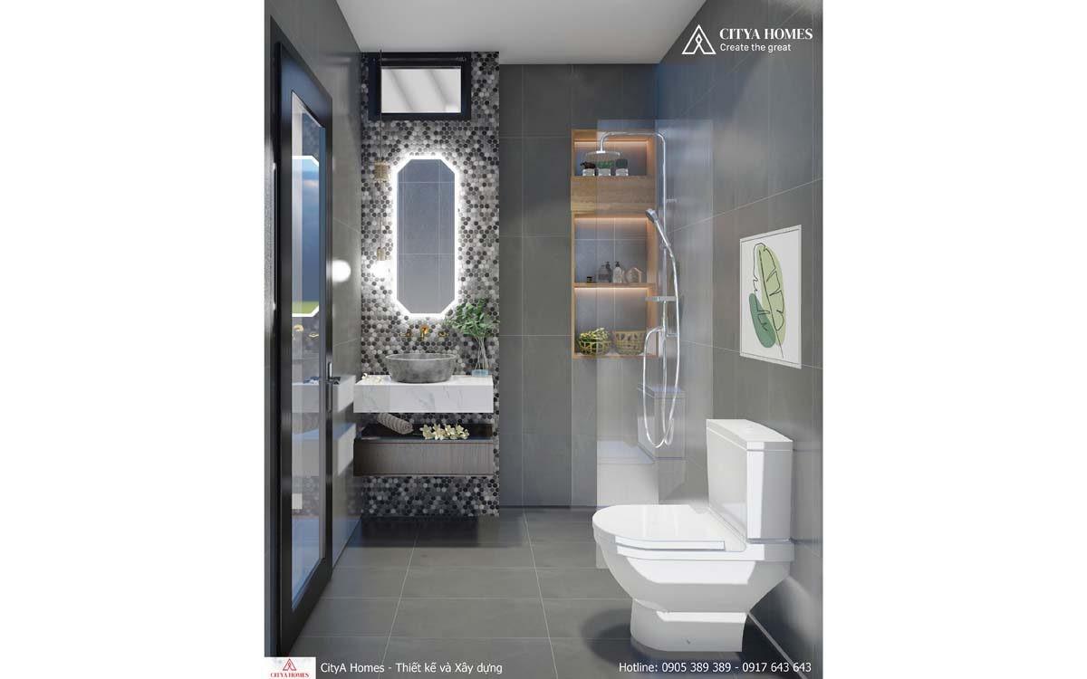 Phòng Tắm Nổi Bật Với Mảng đá Lục Giác được Trang Trí Quanh Gương Sáng