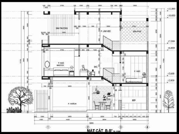 Bản vẽ thiết kế nhà tầng lệch với mặt tiền 4m