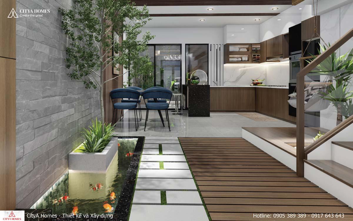 Không gian nối liền giữa phòng bếp và phòng khách được trải đá thành con đường thơ mộng như ở ngoài vườn