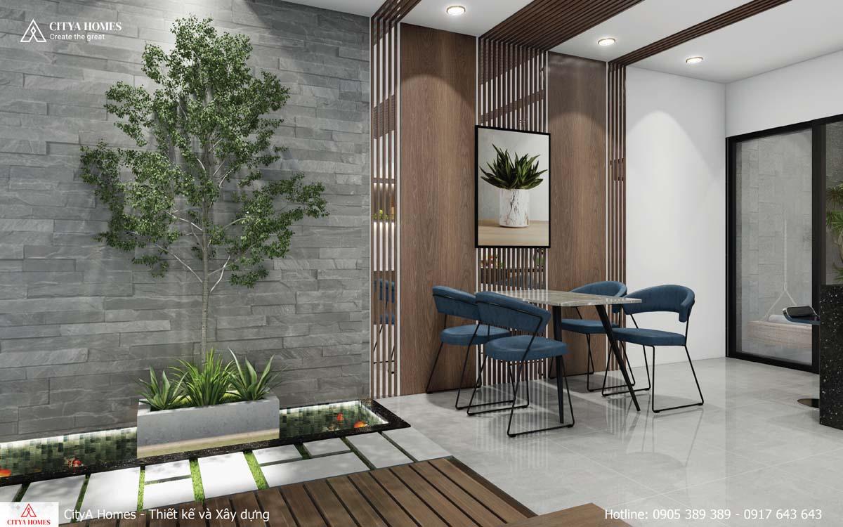 Không gian xanh được đặt bên cạnh bàn ăn giúp gia chủ tận hưởng không gian sống thoải mái_
