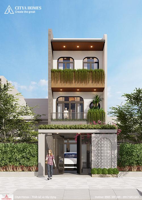 Mẫu nhà phố hiện đại 3 tầng dành cho gia đình 4 thành viên