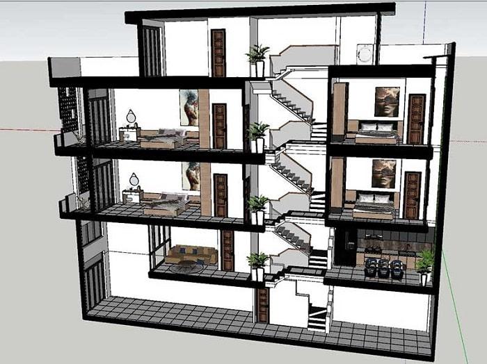 Nhà lệch tầng mặt tiền 6m với thiết kế tỉ mẫn, mang đến không gian thoáng mát