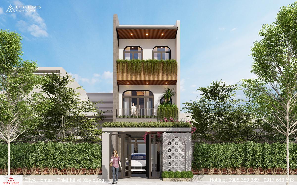 Nhà phố 3 tầng hiện đại không gian xanh kết hợp hệ cửa vòm của phong cách tropical