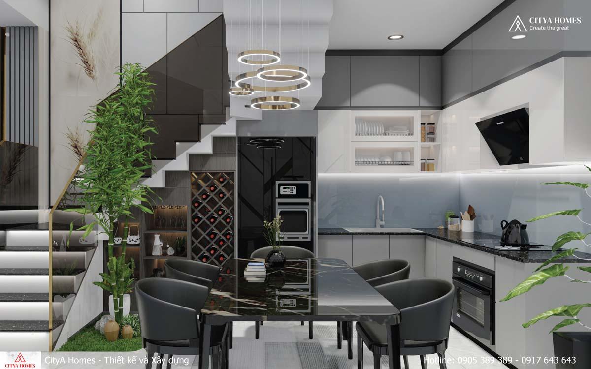 Phòng bếp sử dụng gam màu tối thể hiện được cá tính của gia chủ.