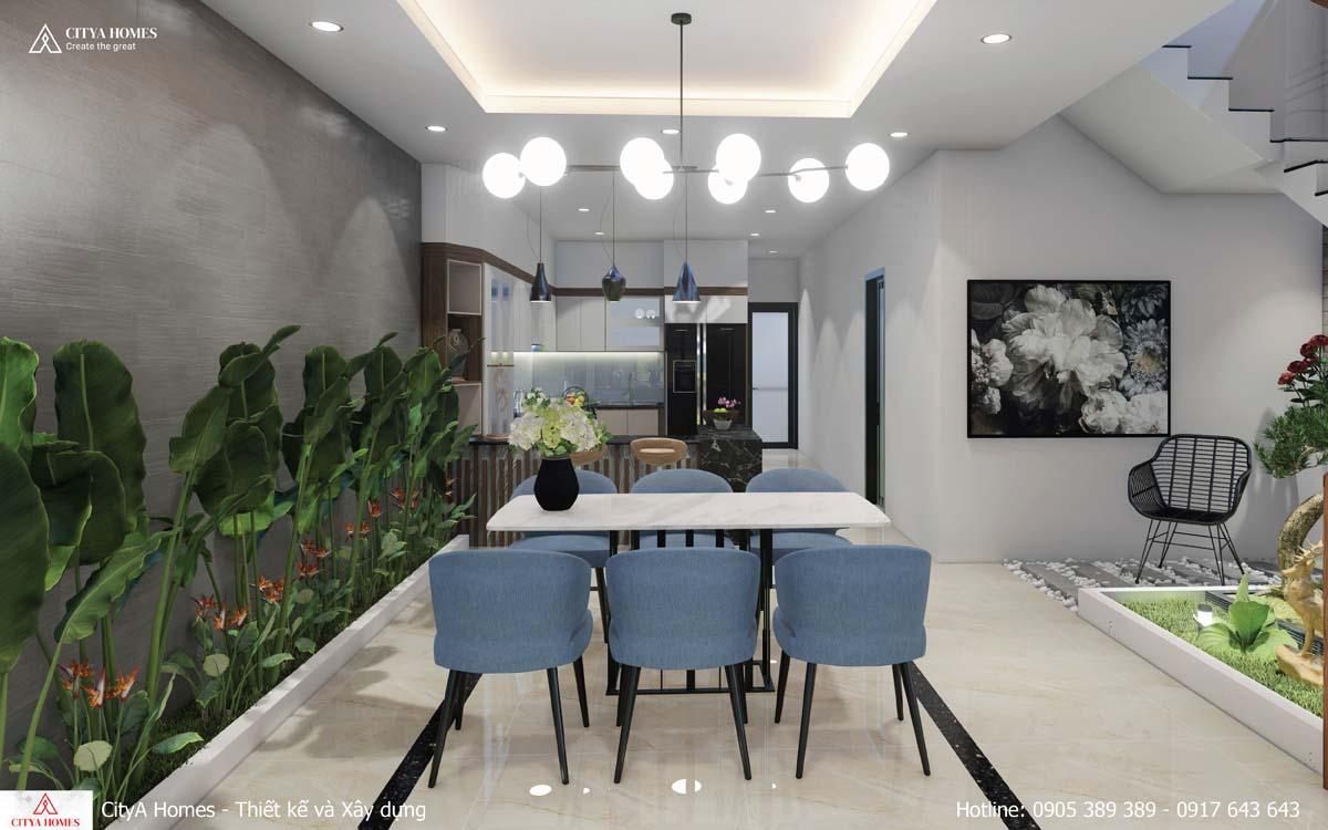 Phòng bếp với thiết kế hài hòa, ấm áp
