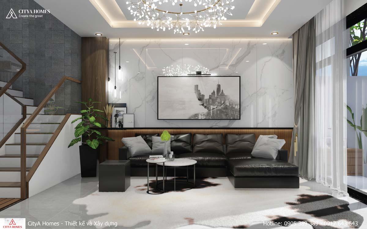 Phòng khách đẹp sang chảnh nhờ bộ sofa chất liệu da bắt mắt