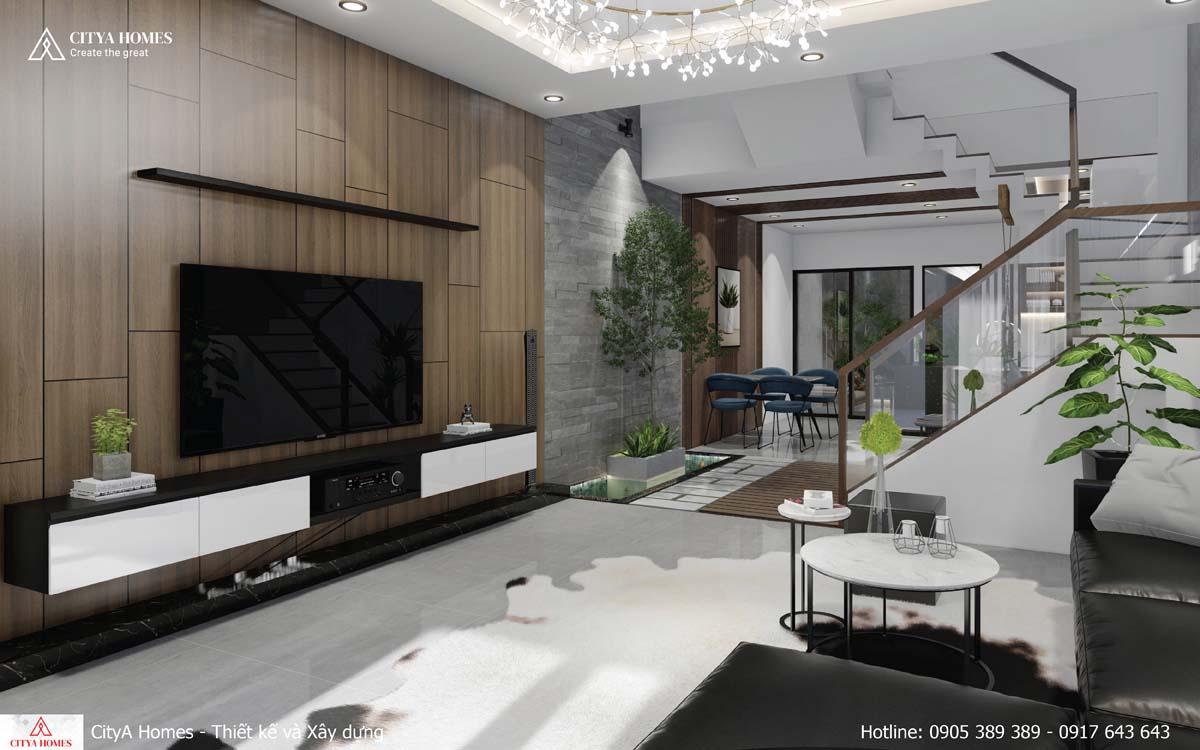 Phòng khách nổi bật với lam gỗ màu nâu nhạt làm chủ đạo