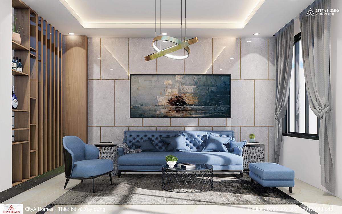 Phòng khách sang trọng với bộ sofa tinh tế, nổi bật