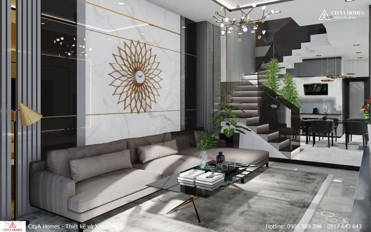 Phòng khách với lối thiết kế tỉ mỉ và đầy tính thẩm mỹ