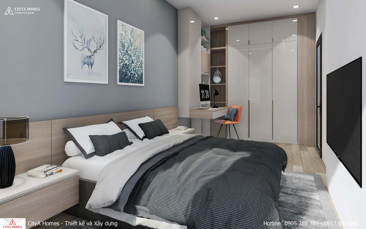 Phòng ngủ có thiết kế bàn làm việc liền kề sáng tạo