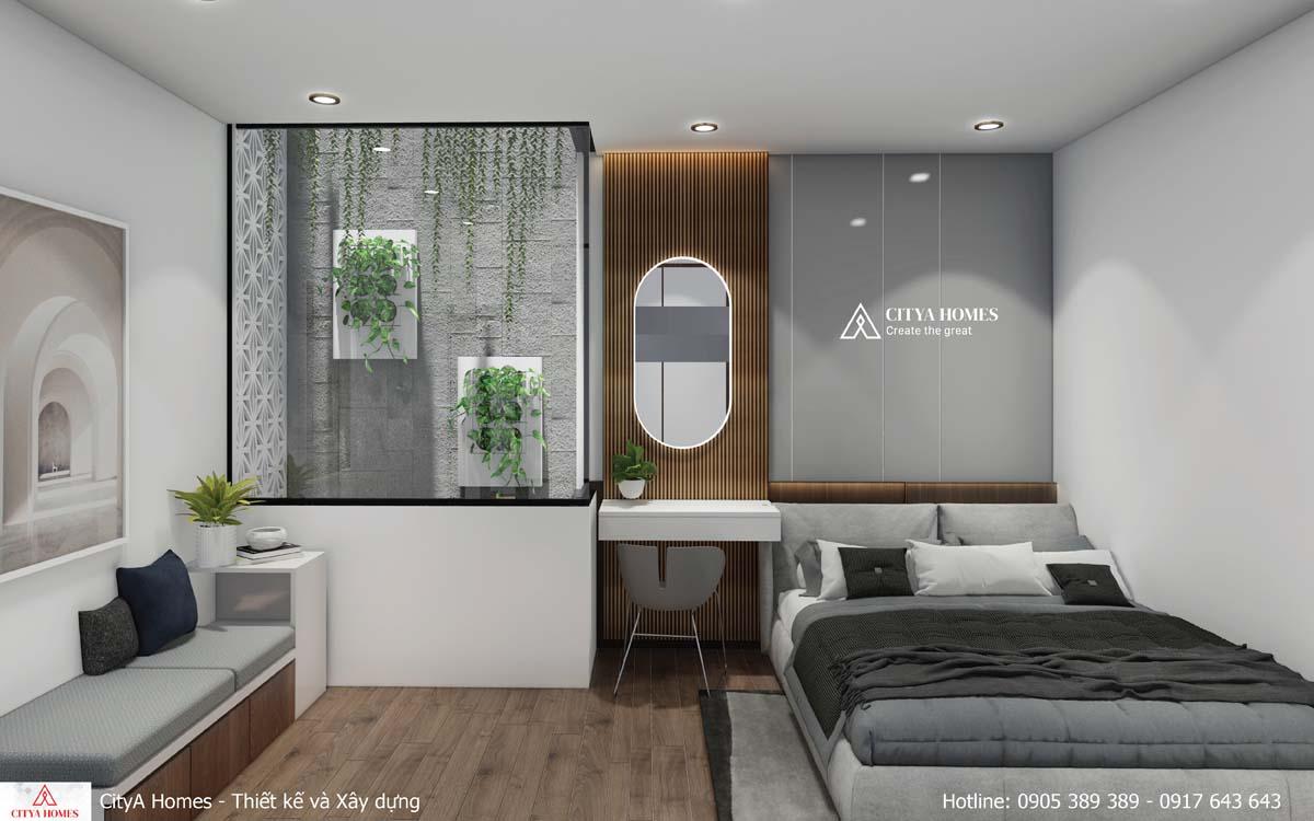 Phòng ngủ có thiết kế sáng tạo nhờ cửa kính bên cạnh giếng trời