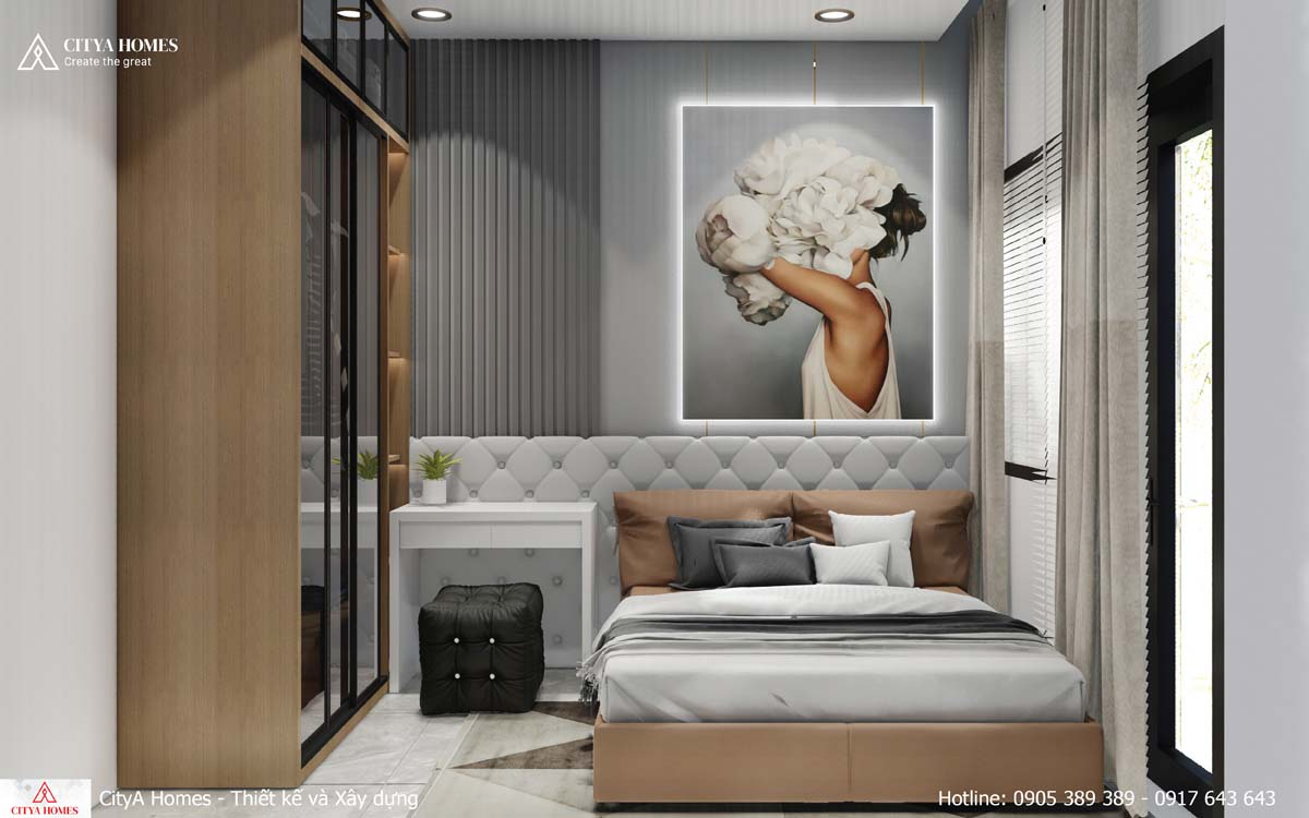 Phòng ngủ đơn được bài trí đẳng cấp không kém phòng ngủ master