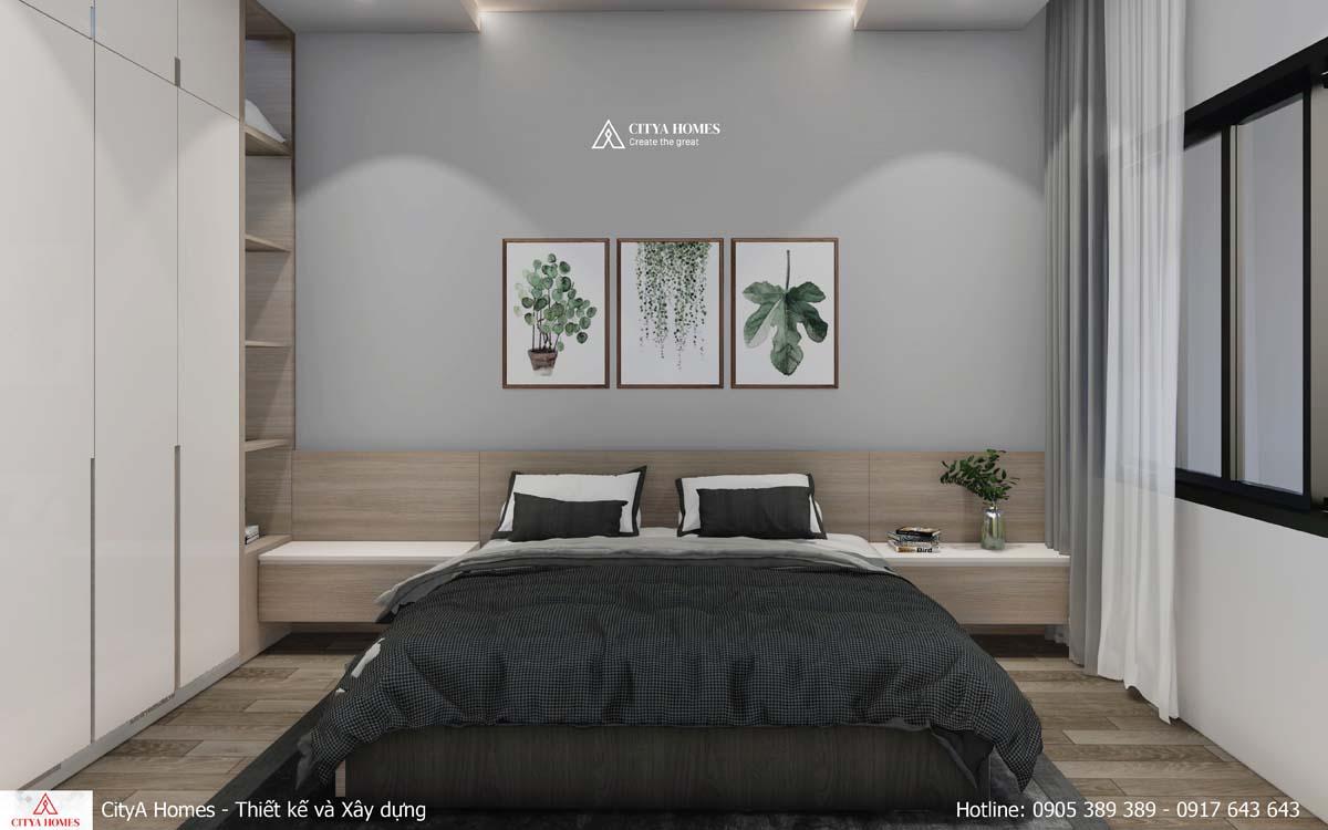 Phòng ngủ được bố trí đơn giản nhưng vẫn tiện nghi