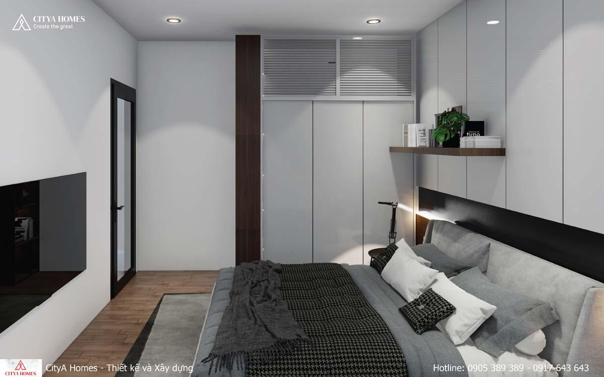 Phòng ngủ hiện đại với tone chủ đạo là xám trầm