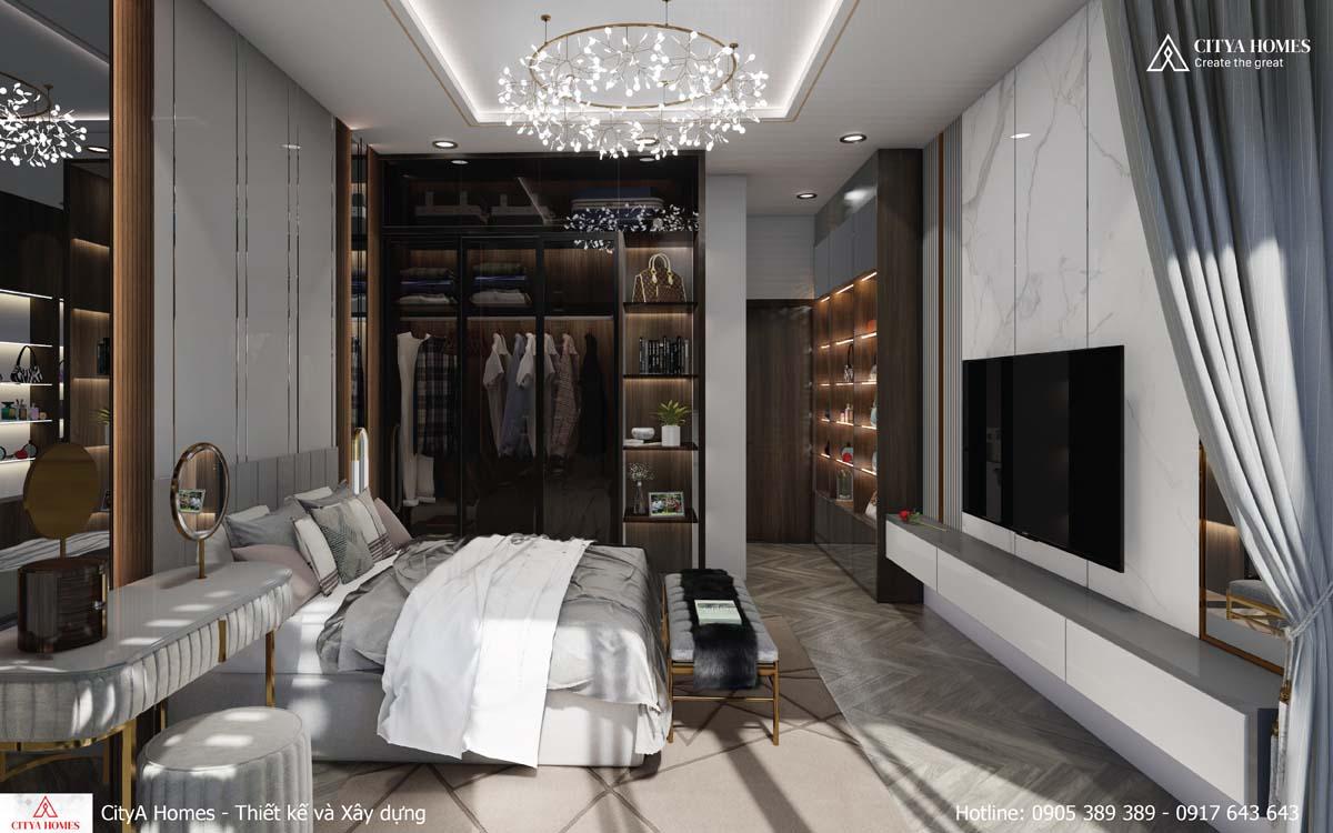 Phòng ngủ master đẳng cấp với tủ đựng đồ và bàn trang điểm được thiết kế bắt mắt, hiện đại
