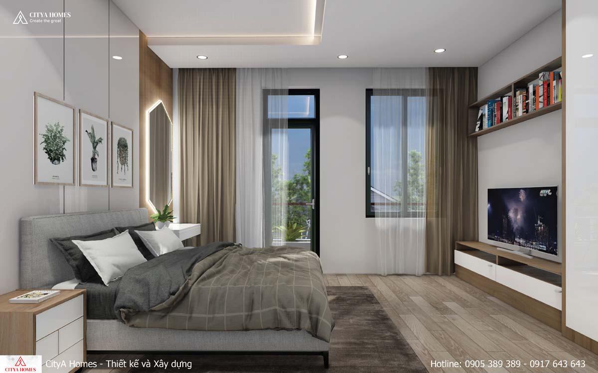 Phòng ngủ master được sắp xếp tiện nghi, thoải mái