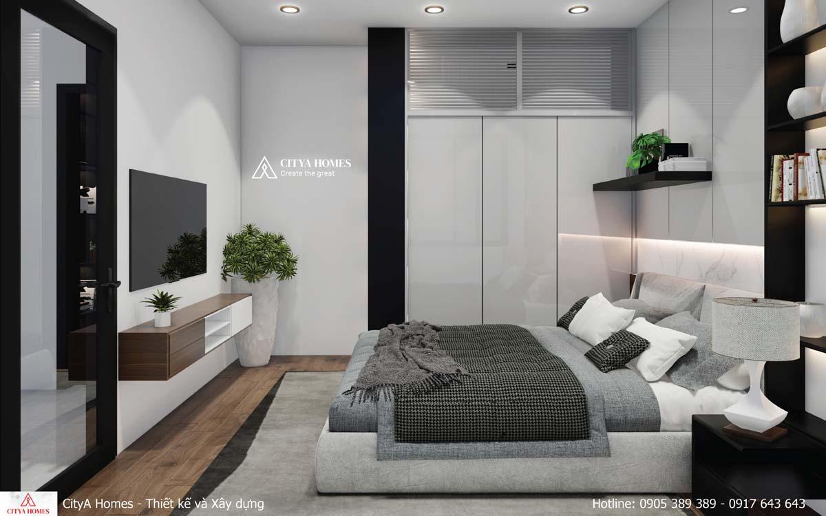 Phòng ngủ sử dụng tone màu đen trắng nổi bật