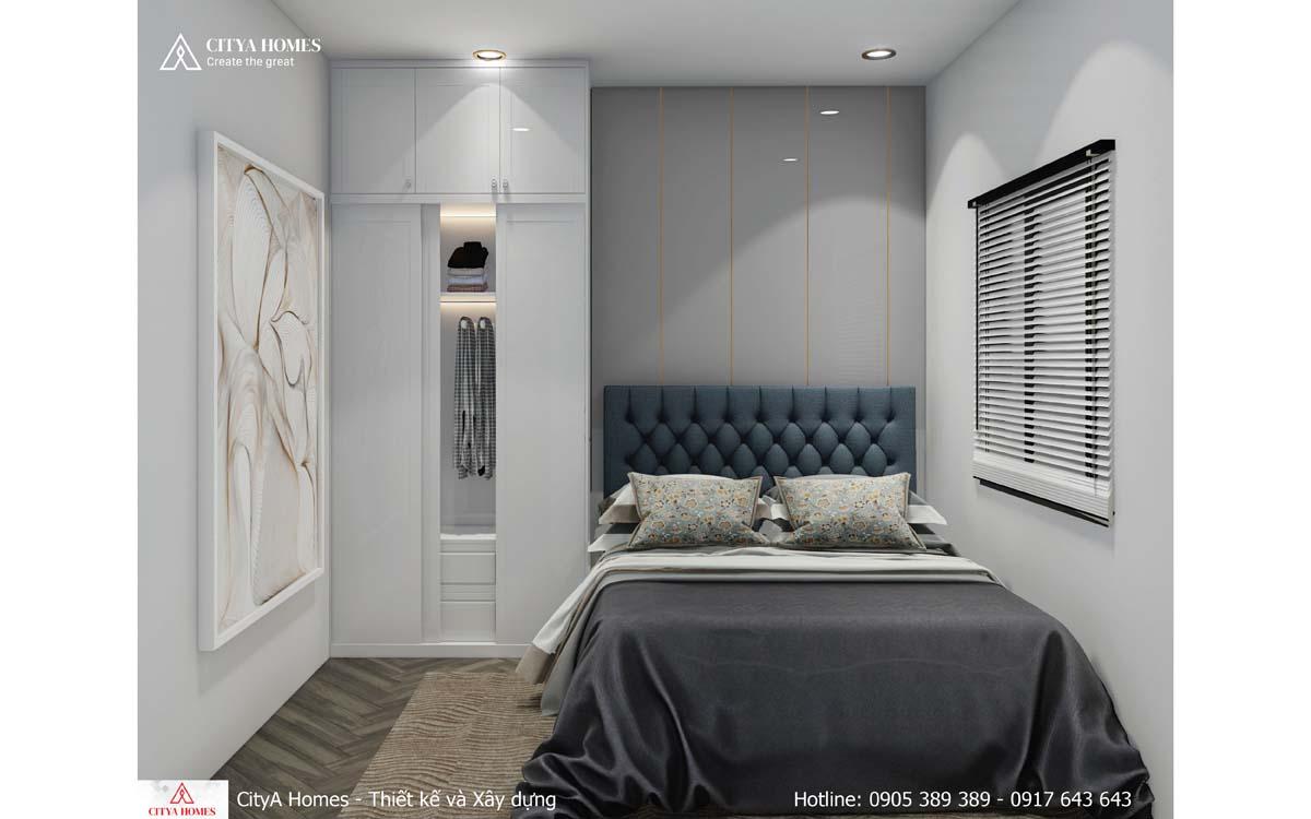 Phòng ngủ tối giản, được sắp xếp hạn chế đồ dùng nhằm tiết kiệm diện tích