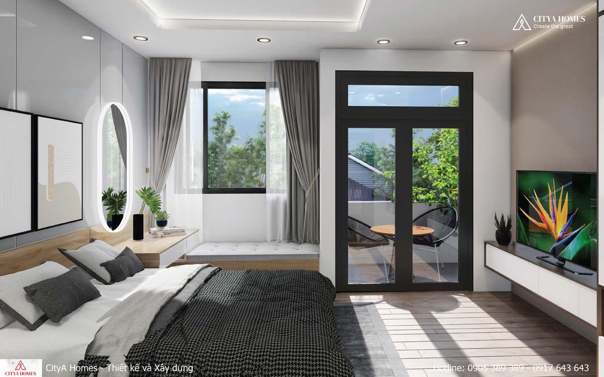 Phòng ngủ tràn ngập ánh sáng nhờ hệ cửa kính đón sáng tự nhiên