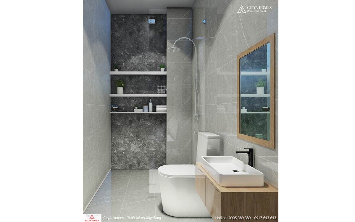 Phòng tắm 3,5m2 có thiết kế tối giản, tiết kiệm diện tích.
