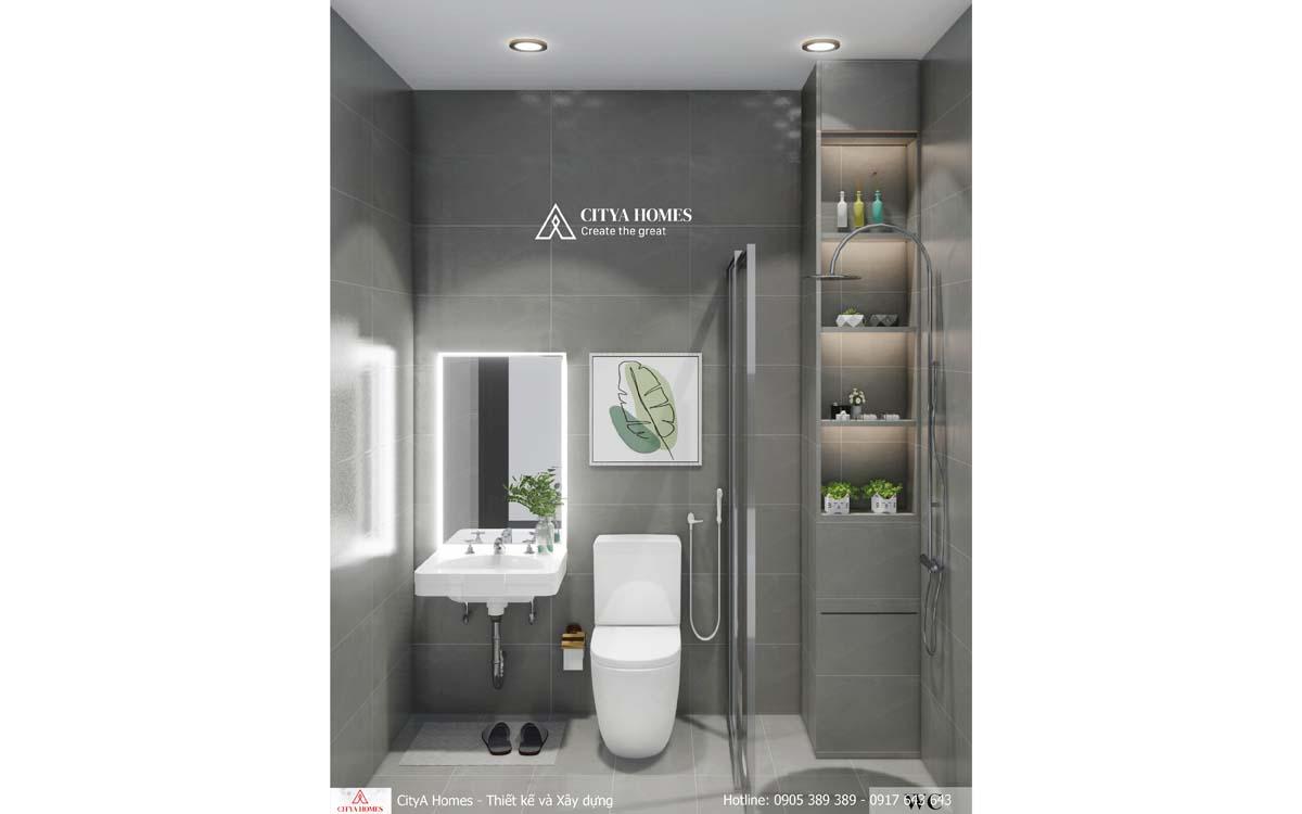 Phòng tắm được bài trí gọn gàng và tiết kiệm không gian