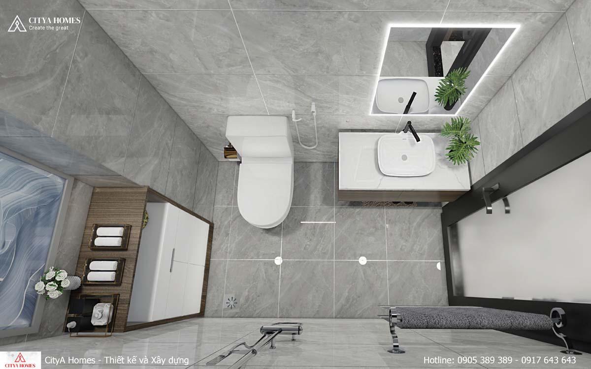 Phòng tắm gọn gàng, được bài trí đồ vật đơn giản